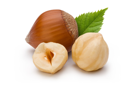 Hazelnuts and leaf isolated on white background