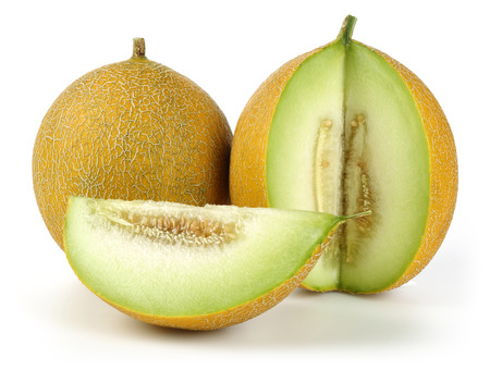 Melon and slice isolated on white background