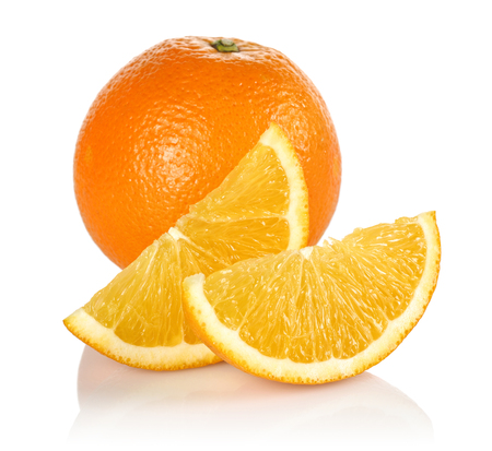 Fresh Orange and slices isolated on white background 写真素材