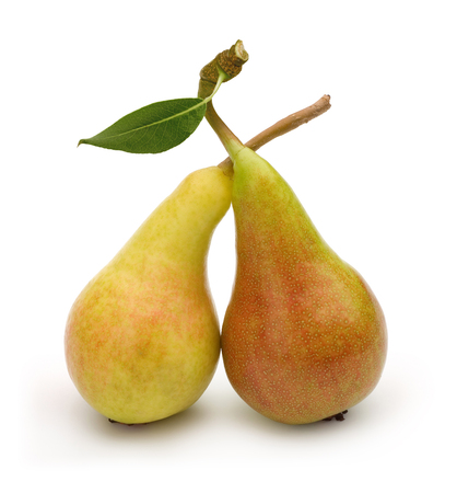 Pears and leaf isolated on white background