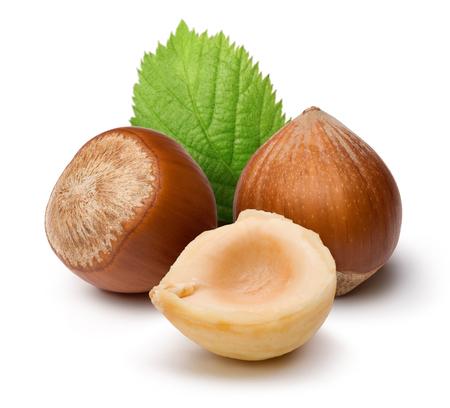 Hazelnuts and leaf isolated on white background Stok Fotoğraf - 115719242