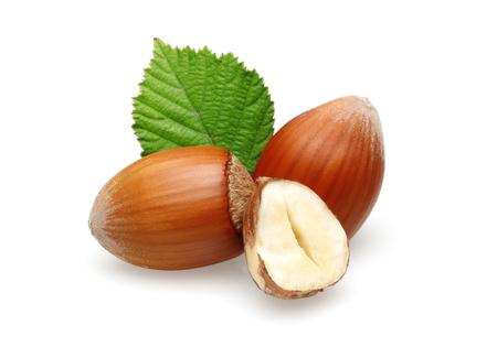 Hazelnuts and leaf isolated on white background Stok Fotoğraf - 115718743