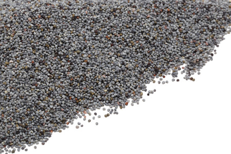 Heap of dry poppy seeds isolated on white background