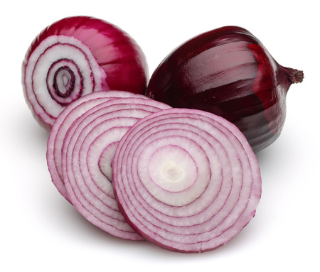 Red onion isolated on white background Stock Photo