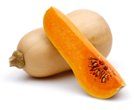 Butternut squash with slice isolated on white background