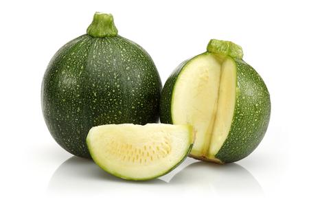Green round zucchini and slice isolated on white background 版權商用圖片