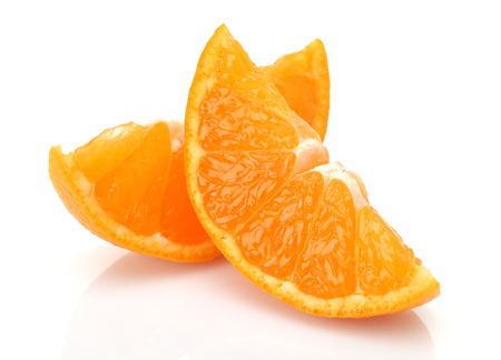 Sliced fresh tangerine fruit isolated on white background