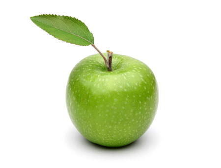 Granny smith apple and leaf isolated on white background