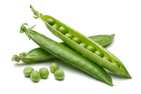 Fresh green pea isolated on white background
