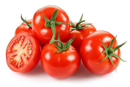 Whole and half tomatoes isolated on white background Stock Photo