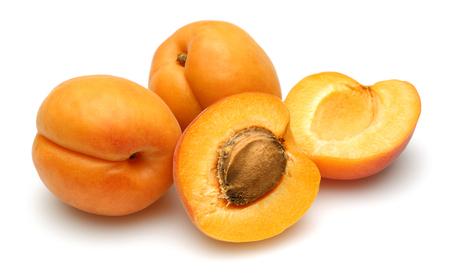 Fresh apricot fruits isolated on white background