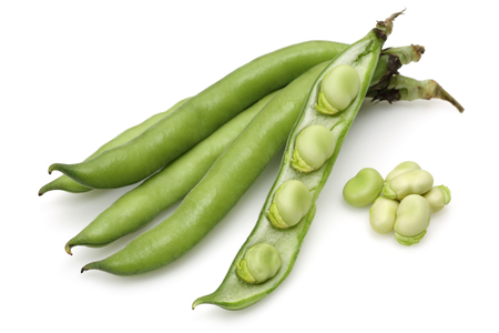 Fresh green broad bean isolated on white background