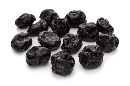 Dried blueberries isolated on white background