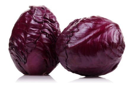 Fresh red cabbage isolated on white background