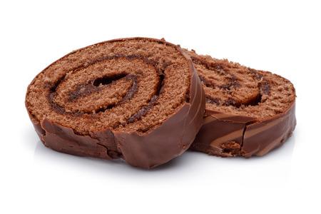 Chocolate cake slices isolated on white background