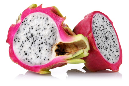 Half dragon fruits isolated on white background