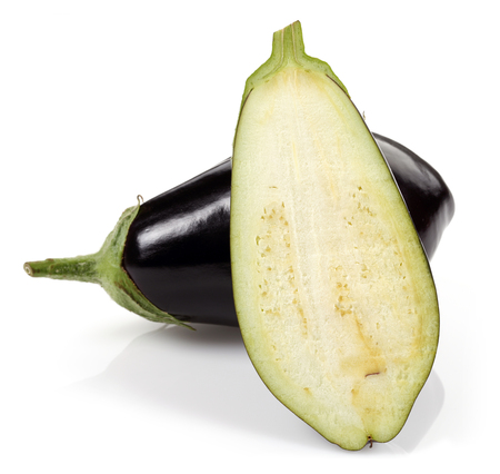 Eggplant or Aubergine vegetable and slices isolated on white background 写真素材