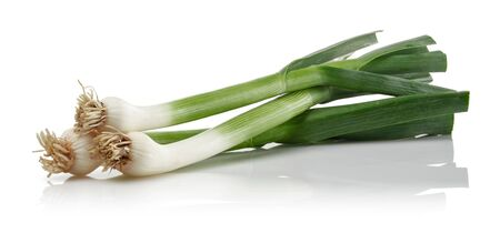 Fresh green garlic isolated on white background