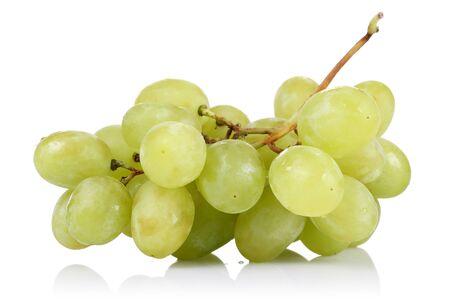 Fresh white grapes isolated on white background