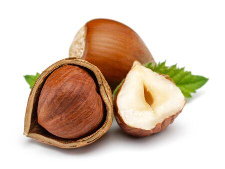 Hazelnut with leaf isolated on white background Stok Fotoğraf - 126050347
