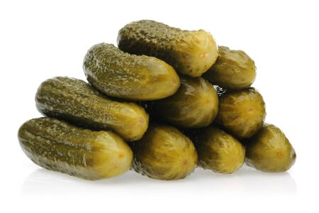 Pickled cucumbers isolated on white