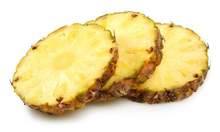 Sliced ripe pineapple fruit isolated on white background Stock Photo