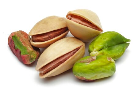 Group of pistachio nuts isolated on white background Stock fotó