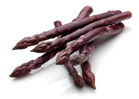 Purple passion asparagus isolated on white background