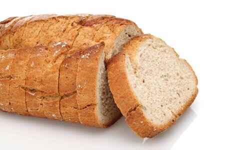 Sliced floury wheat bread isolated on white background Stock Photo