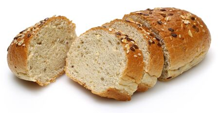 Multigrain bread loafs with slices isolated on white background