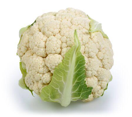Single cauliflower isolated on white background