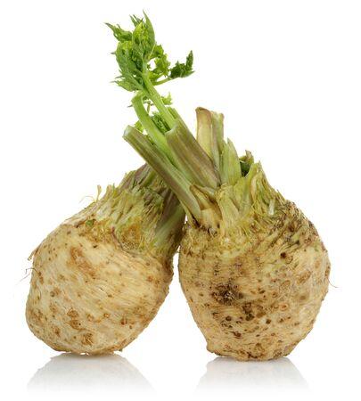 Świeży korzeń selera z izolowanymi łodygami selera Zdjęcie Seryjne