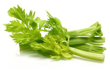 Fresh celery stalks and leaves isolated on white background Stockfoto