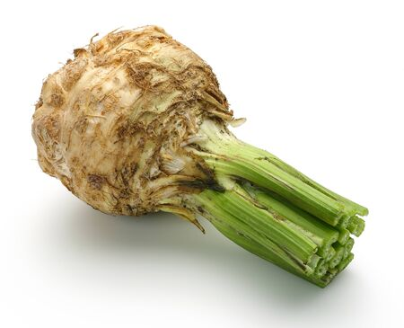 Fresh celeriac root with celery stalks isolated
