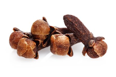Dry clove buds isolated on white background