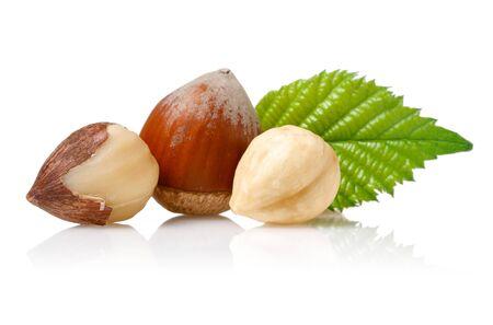 Hazelnuts and leaf isolated on white background