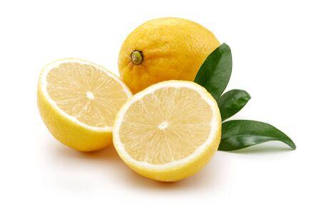 Fresh yellow lemon fruits with leaves isolated on white background