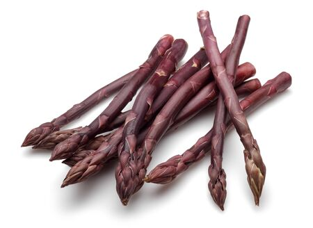 Bunch of purple asparagus isolated on white background Stockfoto