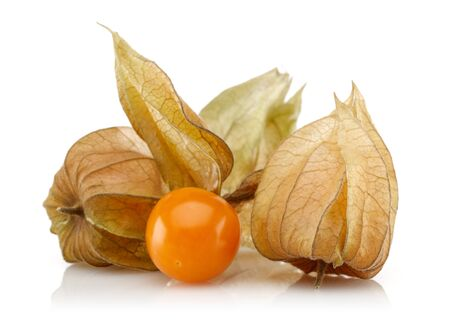 Physalis fruit or winter cherry isolated on white background Stok Fotoğraf - 128993838