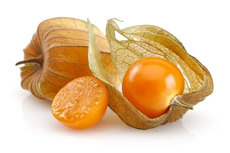Physalis fruit or winter cherry isolated on white background Stok Fotoğraf - 128993836