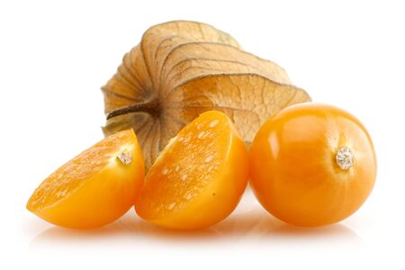 Physalis fruit or winter cherry isolated on white background Stok Fotoğraf - 128993843