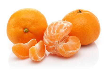 Whole and slice fresh tangerines isolated on white background Stok Fotoğraf