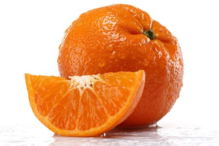 Whole and slice fresh tangerines isolated on white background Stok Fotoğraf - 128993903