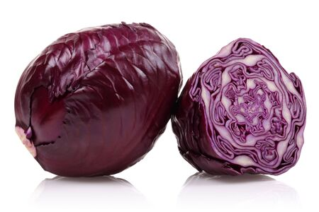 Fresh red cabbages isolated on white background Stok Fotoğraf - 130087945