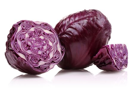 Fresh red cabbages isolated on white background