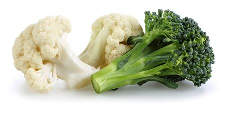 Cauliflower and broccoli isolated on white background Stok Fotoğraf