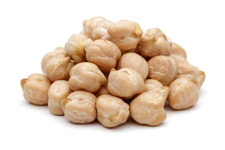 Heap of dried chickpeas isolated on white background Stok Fotoğraf
