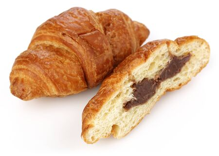 Sliced croissant with chocolate isolated on white background Stok Fotoğraf - 130088129
