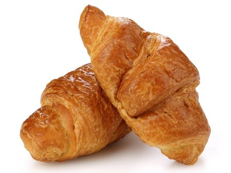 Two Croissants isolated on white background Stok Fotoğraf - 130088130