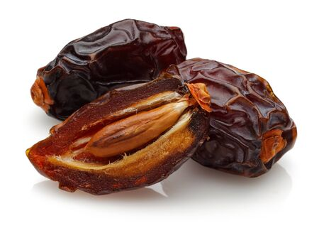 Dried date fruit isolated on white background Stok Fotoğraf